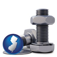 nj map icon and screws, nuts, and washers