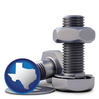 tx map icon and screws, nuts, and washers
